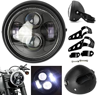 5-3/4 5.75inch Motorcycle LED Headlight Assembly+ Headlamp housing Universal Vintage Black Metal For 12V motorcycle Harley Davidson Suziki Custom Sportster (Not included Bracket Mounting Ring)