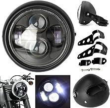 5-3 / 4 5.75inch Conjunto de faro de Motocicleta + Carcasa de faro + Conjunto de soportes Universal Vintage Negro Metal para Motocicleta de 12V