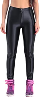 Women's Shiny Metallic Liquid Stretchy High Waisted Tights Leggings Pants