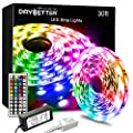 Daybetter Led Strip Lights 30ft with Remote and Power Supply Flexible Color Changing RGB Led Lights