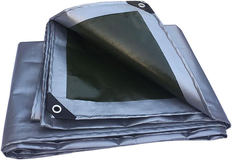 Regenschutz Wasserdicht Verdickter Wasserdichter Sonnenschutzplane des Regenprooftuch-LKW-Gartenbaubetriebs Sonnenschutzmittel staubdicht Anti-Oxidation, Armee grün + Silber