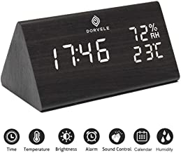 Dorvele Wood Alarm Clock - LED Powered Non-Blue Light Display - Adjustable White Brightness - Dual Temperature Time Humidity for Bedrooms - 3 Manual Alarm Settings - Living Room Decor - Ebook Inside