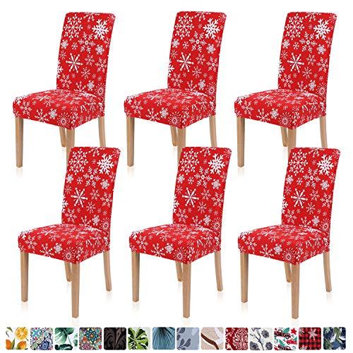 Homaxy - Juego de 6 fundas protectoras para silla de comedor con estampado elástico, de elastano, extraíble y lavable, diseño navideño
