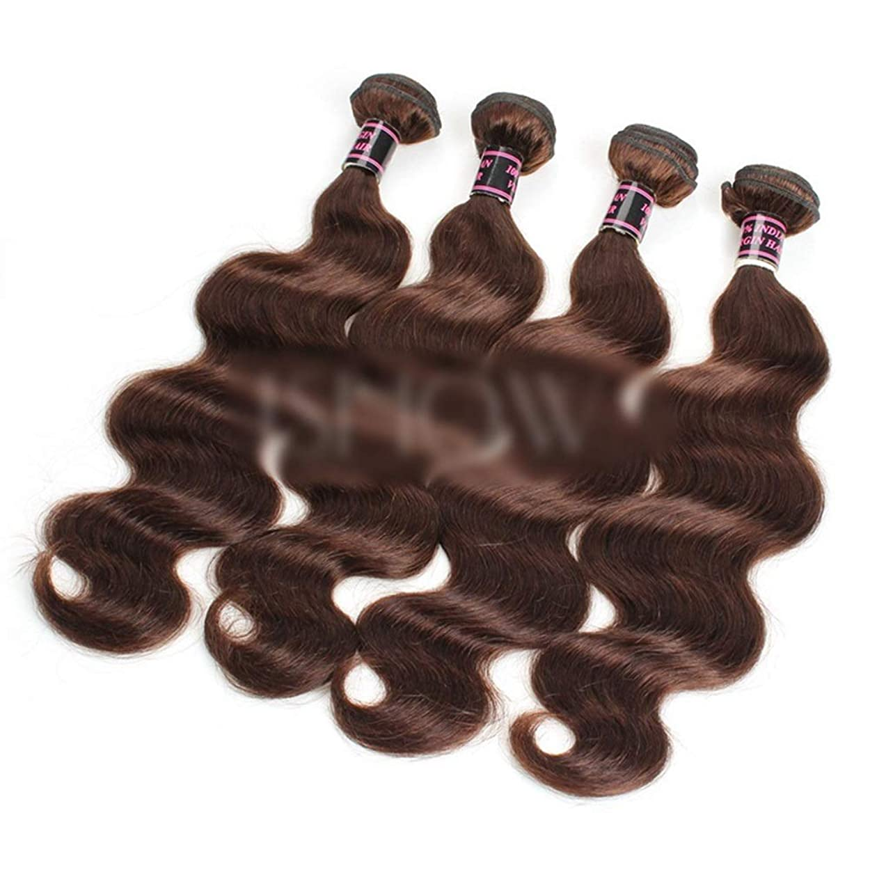 メロン品時折Yrattary 28インチブラジル実体波髪織りダークブラウン巻き毛延長用女性ビッグウェーブウィッグ (色 : ブラウン, サイズ : 28 inch)
