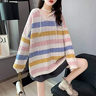 S&RL Suéteres Sueltos para Mujer, Jerséis, Suéter a Rayas Arcoíris, Jersey para Mujer, Suéter Exterior Suelto, Sudadera co...