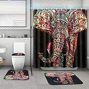 Jiecikou Elephant Shower Curtain Bathroom Mat Toilet Cover Set Decoration 2# Curtain+3PCS Rug Set