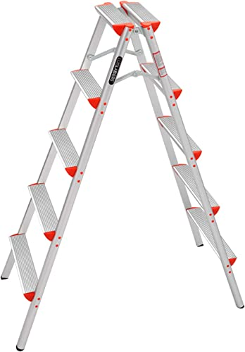 high quality LUISLADDERS Step Ladder Folding 5 Step Stool outlet sale Lightweight Ladder Double Sided Step Ladder online with Anti-Slip Sturdy and Wide Pedal (330lbs) online