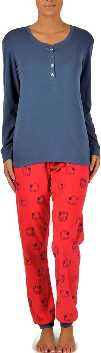 Claudel Women's Plus Size Counting Sheep Collection Pajama Set Without Collar