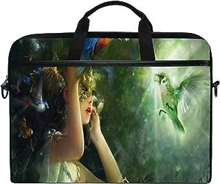 Fairy Green 14-15 inch Laptop Case Computer Shoulder Bag Notebook Tablet Crossbody Briefcase Messenger Sleeve Handbag with Shoulder Strap Handle for Women Men Girls Boys
