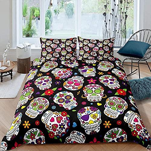 Sängkläder 200 x 200 cm 3 delar för allergiker lämpliga sängkläder set med 1 påslakan 135 x 200 & örngott 80 x 80 skalle i svart färg – med dragkedja