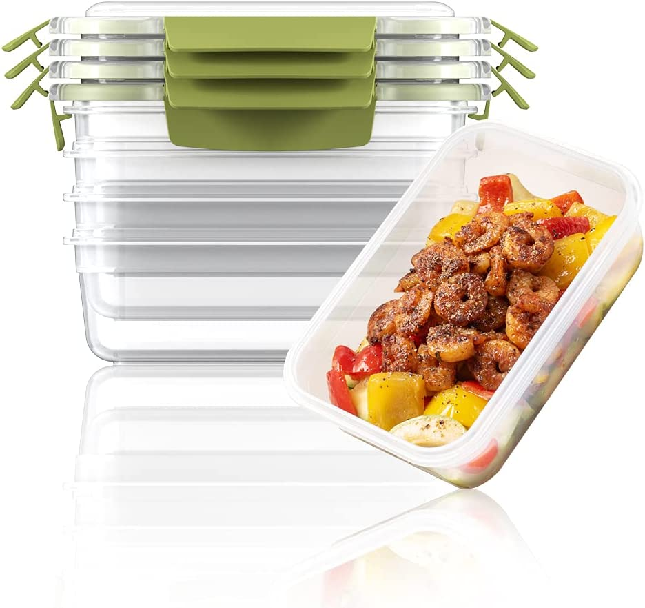 Dalebouti Nest Lock Stackable Food Grade Plastic Food Storage Container Set with Lockable Airtight Leakproof Lids Meal Prep Containers for Kitchen, Home Use, 5 pack, Green (900ml)