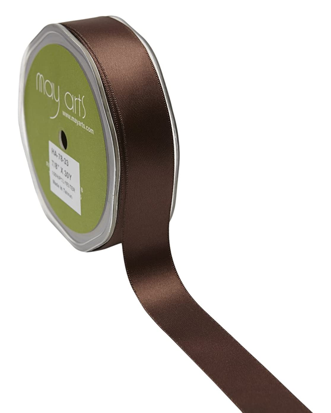 May Arts 7/8 Inch Double Face Satin, 30 yd, Brown