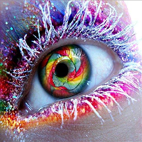 MXJSUA DIY 5D Diamant Malen nach Zahlen Kits Vollbohrer Strass Bild Kunsthandwerk für Hauptwanddekor Farbige Big Eye 25x25 cm