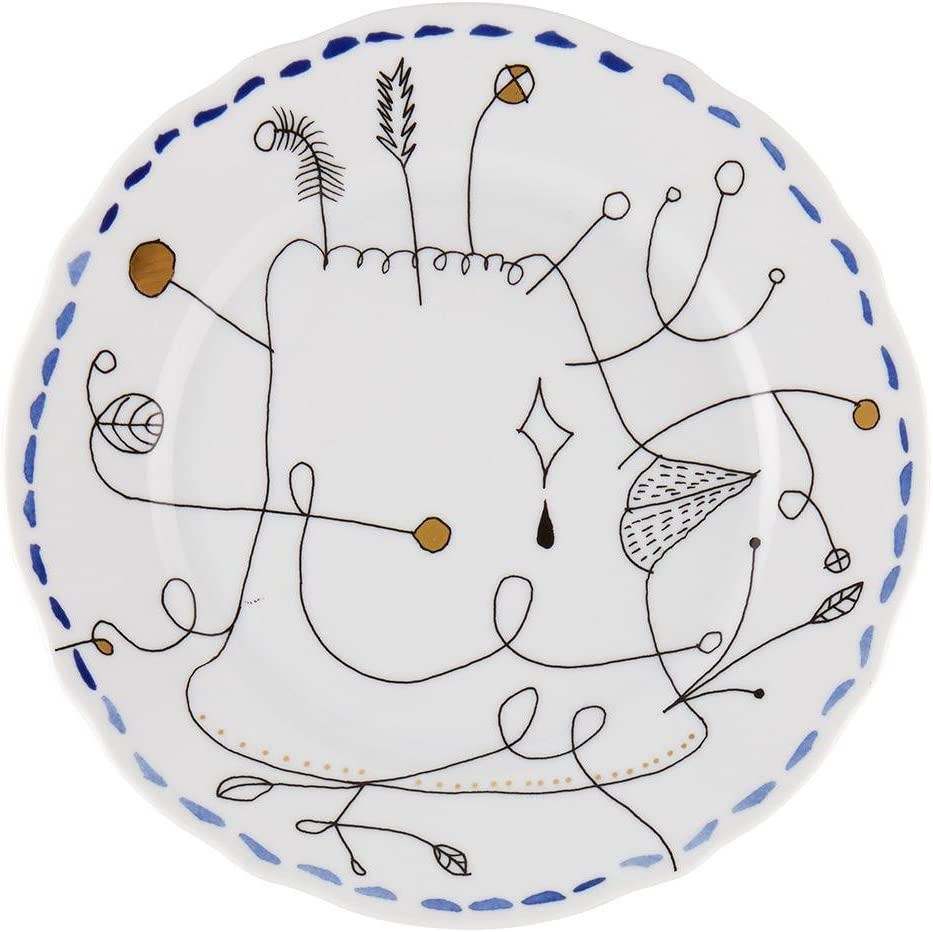 Vista Lowest price challenge Alegre Outlet ☆ Free Shipping Porcelain Folkifunki Dessert Plate Blue Set - 4 of