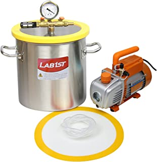 lab1st 3 Gallon Vacuum Chamber and 3.6 CFM Pump Kit for Degassing Silicone Epoxy - Not for Wood Stabilizing