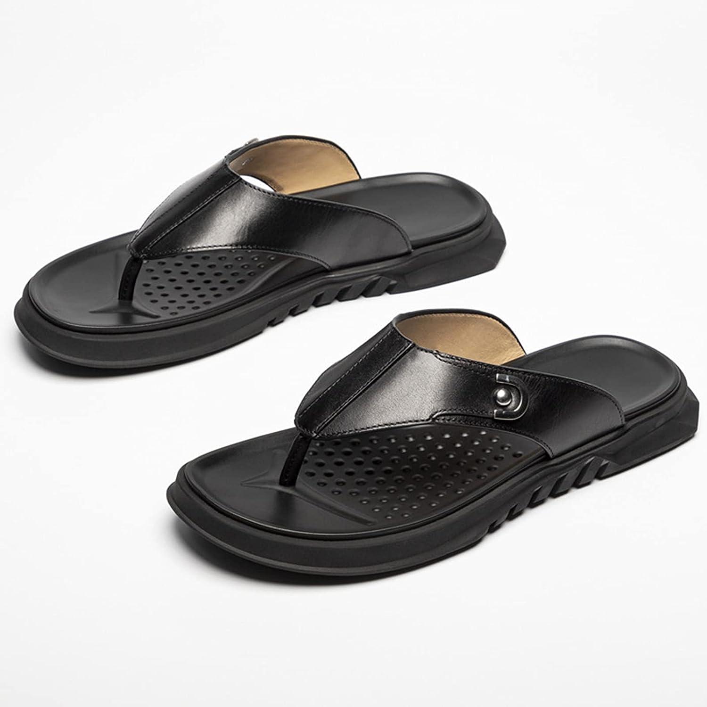 QWEEI Men's Outdoor Flip-Flop Sandals with Storage Bag, Microfiber Leather Flip-Flops Beach Shoes, Handmade T-Shaped Sandals