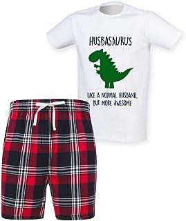 60 Second Makeover Limited Mens Husband Dinosaur Christmas Tartan Short Pyjama Set Family Matching Twinning