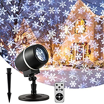 TangkulaChristmasSnowflake LED ProjectorLights Rotating Snowfall Projection with Remote Control Outdoor Landscape Decorative Lighting for Christmas Holiday Party Wedding Garden Patio