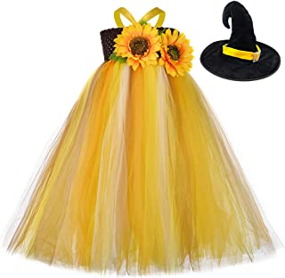 Girls Sunflower Tutu Dress Costume for Birthday Party Thanksgiving Princess Costumes for Kids
