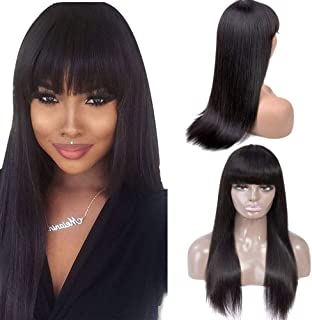 Healthair 14inch Straight Wigs with Bangs Straight Human Hair Wig Brazilian None Lace Front Wigs Glueless Human Hair Wigs for Women Pre Plucked with Baby Hair Remy 150% Density(14