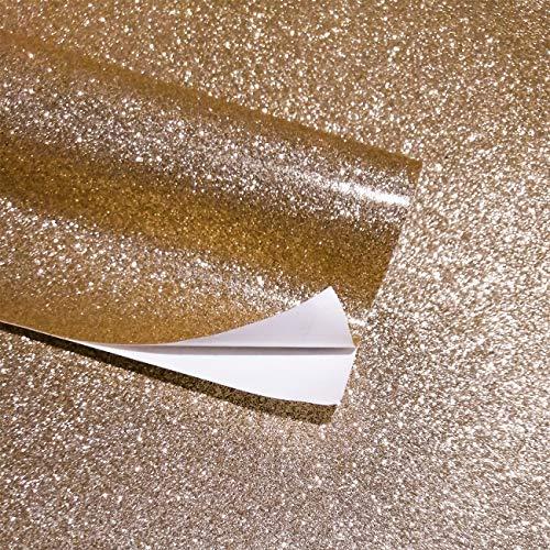 AWEIE Selbstklebende Glitzer Tapete Strukturierter Hintergrund Wasserdicht Kontakt Papierschale Und Aufkleber Bling Wallcovering (Color : Champagne, Dimensions : 45cmx5m)