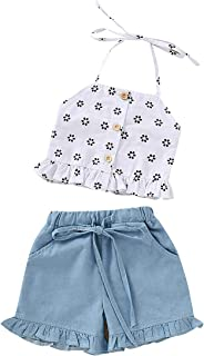 Toddler Baby Girl Floral Halter Outfit Ruffle Button Crop Tops+Denim Short with Bowknot Two Piece Summer Clothes Set