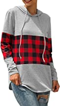 E-Scenery Women's Casual Hoodies Plaid Patchwork Drawstring Long Sleeve Hooded Sweatshirt Pullover