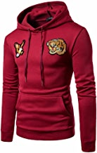 AMSKY Mens' Pullover Hoodies, Men's Slim Fit Autumn Winter Tiger Eagle Pattern Cool Novelty Cozy Cotton Hooded Sweatshirt