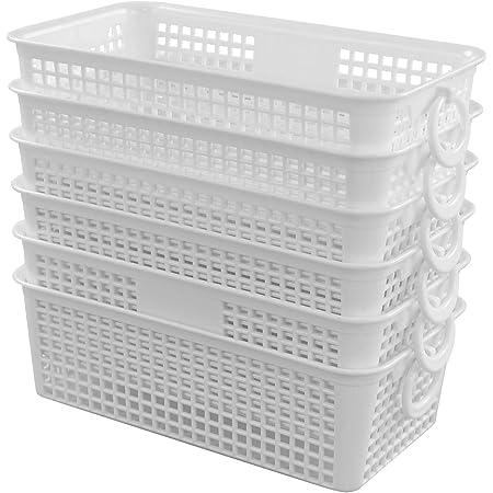 Inhouse Lot de 6 petits paniers de rangement pour bureau et cuisine Blanc 1,6 l