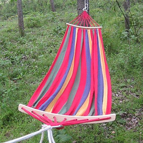 CaoXc1 Extérieur Survoler résistant Personne Seule Toile Hammock Beach Portable Balançoire lit avec des bâtons en Bois, Taille: 280 x80cm (Bleu) (Color : Red)