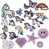 20 piezas de parches para planchar mixtos,parches de unicornio para planchar, aplique de unicornio para coser en el juego para adultos, niñas, rodillas de niños,jeans con estrellas, mariposas