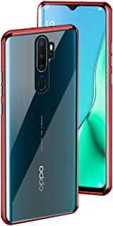 BiubiuCase Metal Magnetic Aluminum Alloy Frame Tempered Glass Phone Case for Oppo F11/F11 Pro/A9 2020 (Red, Oppo A9 2020)
