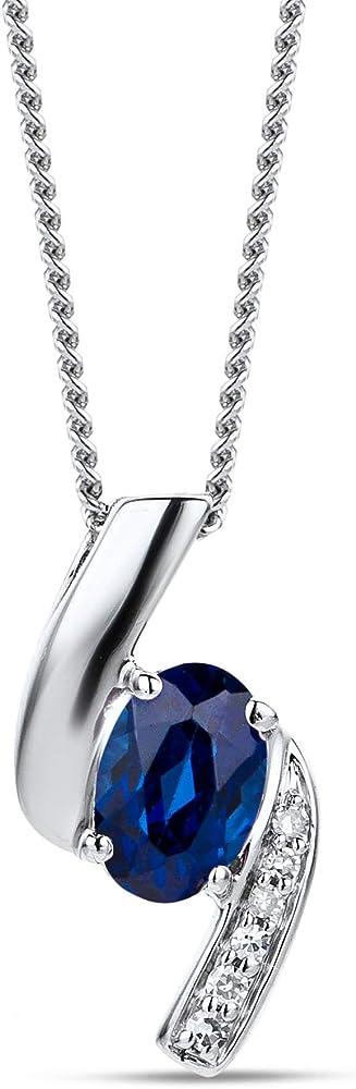 Orovi collana per donna con cinodolo in oro 9 kt / 375 (1,95g) e diamanti e zaffiri ct 0.66 OR81140N