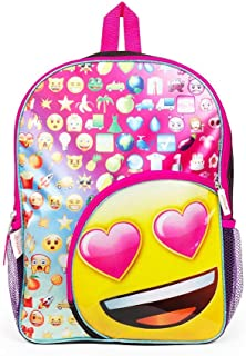 Fashion Accessory Bazaar Emoji Heart Eyes 16 inch Backpack with Side Mesh Pockets