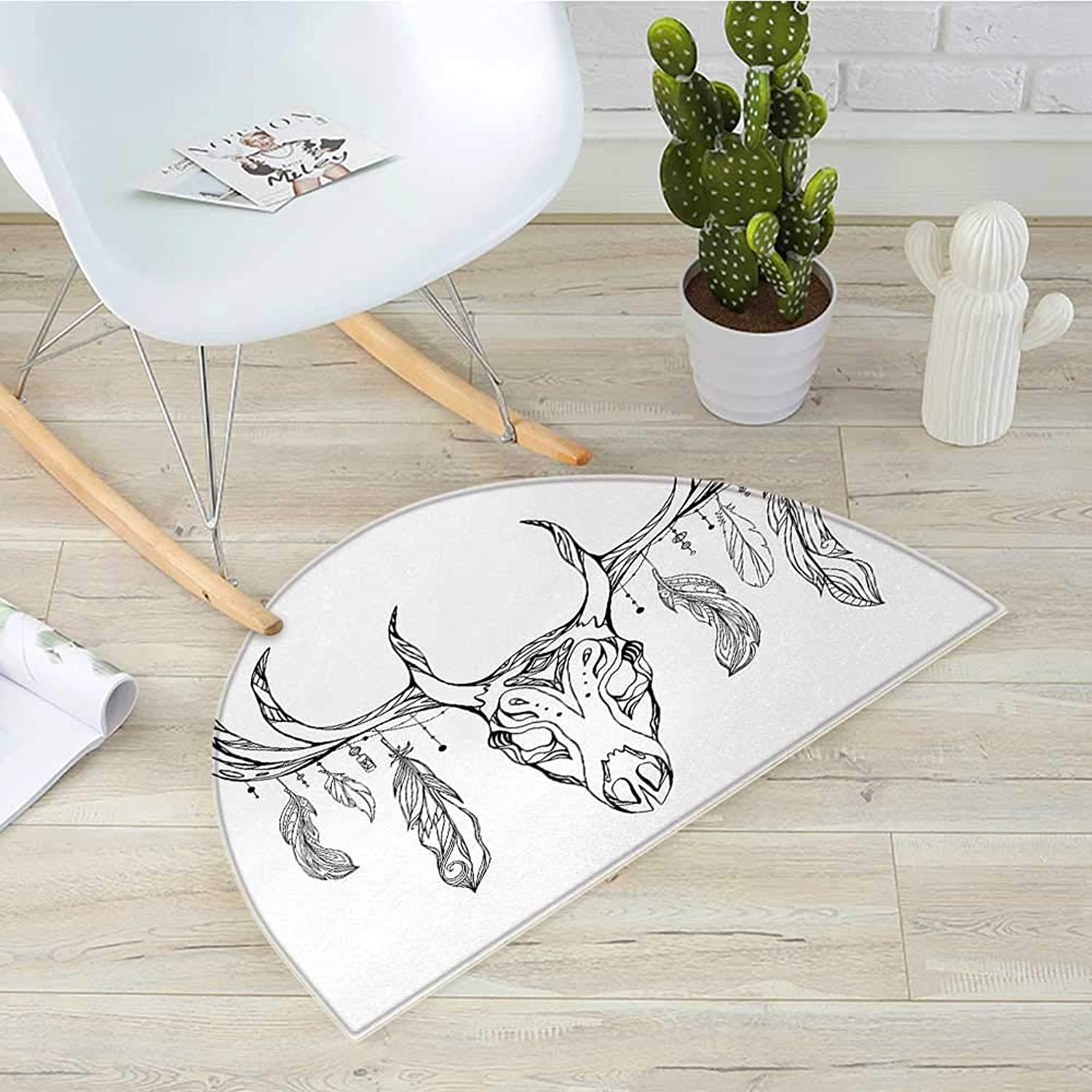 Antlers Semicircular CushionIllustration of a Deer Skull with Antlers and Feathers Boho Pattern Tribal Entry Door Mat H 39.3  xD 59  Charcoal Grey White