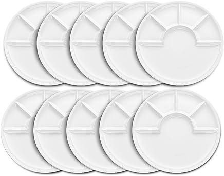 Preisvergleich für 10er Set kela Fondueteller ARCADE 26 cm mit 5-Fach Unterteilung in weiß glänzend
