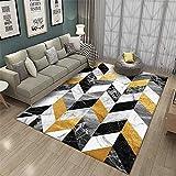 alfombras para el Salon Amarillo Alfombra Amarilla con Estampado de Rayas geométricas Alfombra Suave Resistente al Desgaste Alfombra Silla Ruedas 100X200CM Alfombra antiacaros 3ft 3.4''X6ft 6.7''