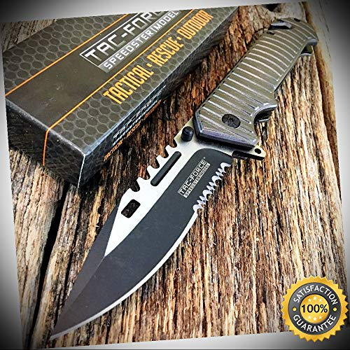Spring Assisted Open Gray SAWBACK BOWIE Rescue Pocket Knife - Outdoor For Camping Hunting Cosplay