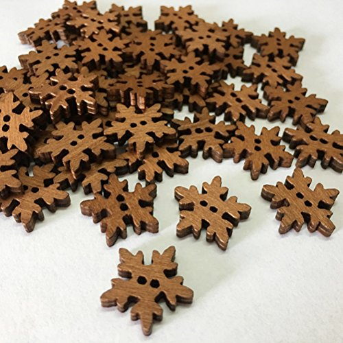 SUPVOX 100pcs Christmas Wooden Snowflake Buttons White Mini Buttons Decoration for DIY Scrapbooking Craft 18MM
