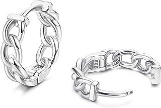 YADOCA S925 Sterling Silver Huggie Hoop Earrings Cartilage Earrings 18K Gold/White Gold Plated Curb Chain Huggie Hoops Sma...