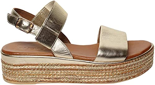 LOTA Sandalo Pelle Metallizzata Con Fasce e e e Laccio al Tallone e Zeppa Platform in Corda  auf dich wartend