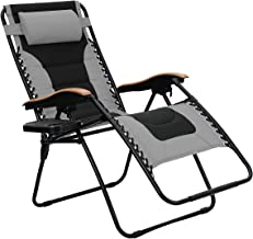PHI VILLA Oversize XL Padded Zero Gravity Lounge Chair Wider Armrest Adjustable Recliner with Cup Holder, Support 350 LBS, Grey