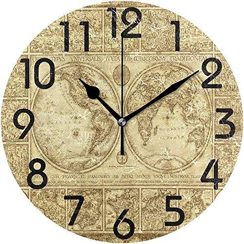Cy-ril Vintage Vieux Monde Carte hémisphères Impression Ronde Horloge Murale décorative fonctionnant sur Batterie Calme Horloge de Bureau pour la Maison, Bureau, école