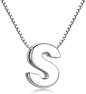 Candyfancy Initial Necklace 925 Sterling Silver Alphabet Personalized A-Z Letter Pendant Necklace for Women Girls