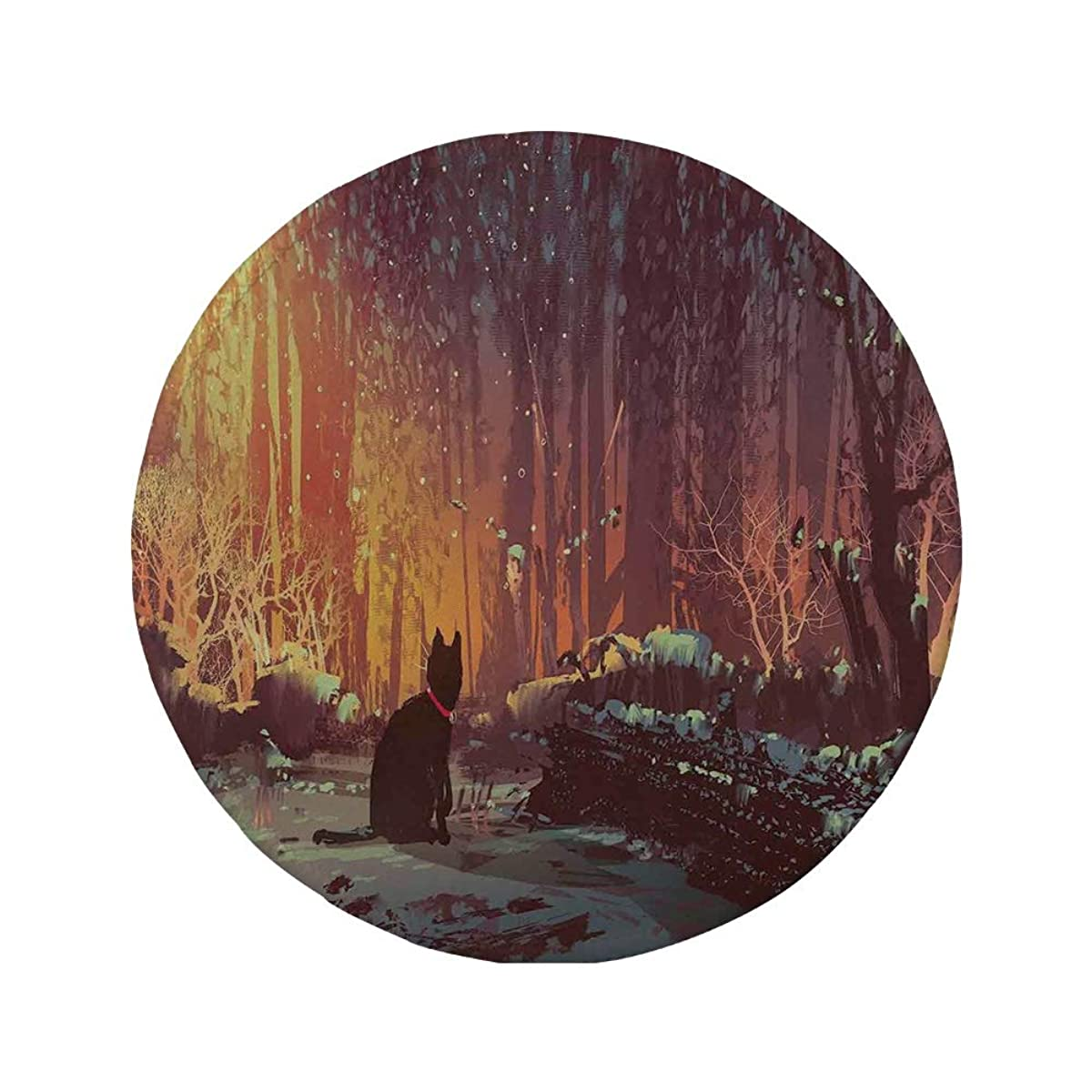 Non-Slip Rubber Round Mouse Pad,Fantasy Art Decor,Surreal Lost Black Cat Deep Dark in Forest with Mystic Lights Picture,Orange Brown,11.8