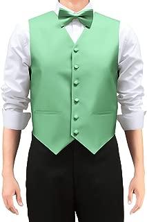 Retreez Men's Solid Color Woven Vest with Tie, Bow Tie 3 Pieces Gift Set