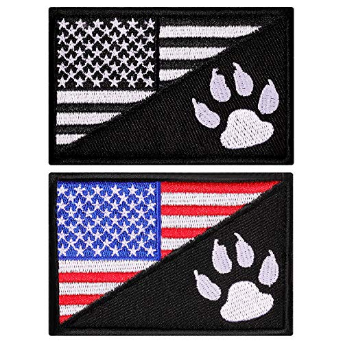 2 Pieces Tactical US Flag Patch with Tracker Paw, American Flag Embroidered Patch Military Tactical Badge Patch with Hook and Loop Fastener Backing, 2 Colors
