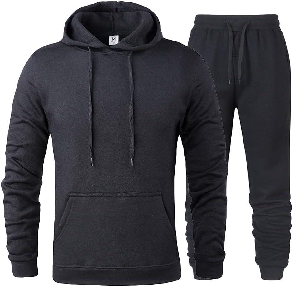 RH-ZTGY Men's Long Sleeve Jogging Suits Sports Suit Casual Comfortable Sports Suit with Pockets,Black,M