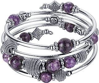 Sponsored Ad – Turquoise Beaded Chakra Bangle Bracelet, Silver Layered Jewellery Wrap Bracelet with Natural Stone Birthday...