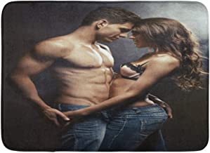 Emvency Bath Mat Intimate Kiss Beautiful Young Smiling Couple in Love Embracing Indoor Hug Naked Bathroom Decor Rug 16